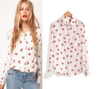ON SALE! White Black Long Sleeve Elegant Women Blouses & Shirts, Kiss Red Lip Print Casual Top, Button Closure, Gaga deals-in Blouses & Shirts from Apparel & Accessories on Aliexpress.com