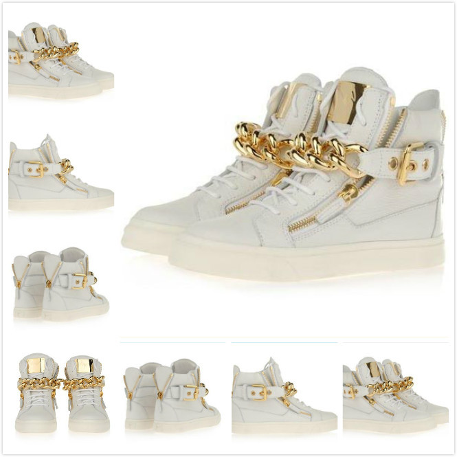 Free Shipping New Mens Womens White Genuine Leather High Top 2013 GZ Sneakers Unisex Gold Chain Zip Buckle Causal Shoes Loafers-in Sneakers from Shoes on Aliexpress.com