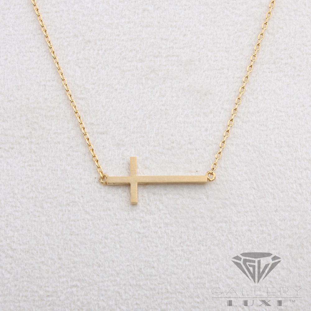 Matt Gold Color Horizontal Cross Pendant Crucifix Necklace Sideways Small Size | eBay
