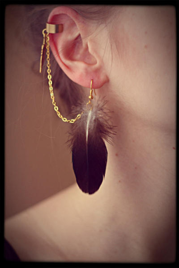 jewels ear cuff feathers