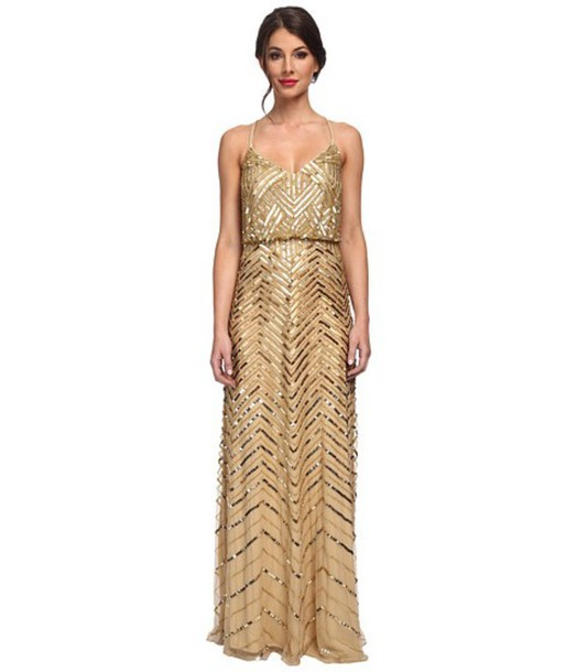 dress gown adrianna papell gold sequin dress beaded gold sequins prom dress