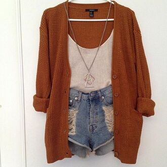 jacket sweater cardigan jewels tank top shorts orange white demin shorts shirt knitted cardigan necklace cut off shorts wool brown hipster cozy burnt orange brown cardigan