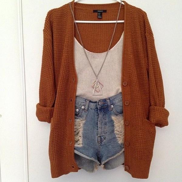 jacket sweater cardigan jewels tank top shorts orange white demin shorts shirt knitted cardigan necklace cut off shorts wool brown hipster cozy burnt orange brown cardigan