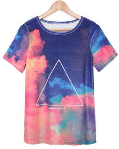 Blue Orange Short Sleeve Galaxy Triangle Print T-Shirt