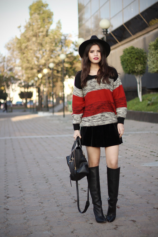 fake leather sweater skirt bag hat shoes