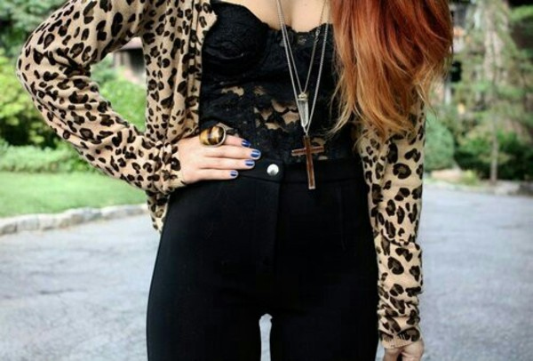 tank top leopard print disco pants cross necklace lace top lace jeans