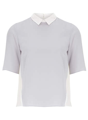 Silver/Ivory Contrast Collar - Tops & T-Shirts - Clothing - Dorothy Perkins