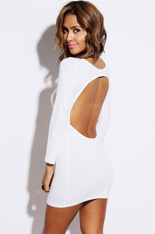 White Mini Dress - White Long Sleeve Open Back | UsTrendy