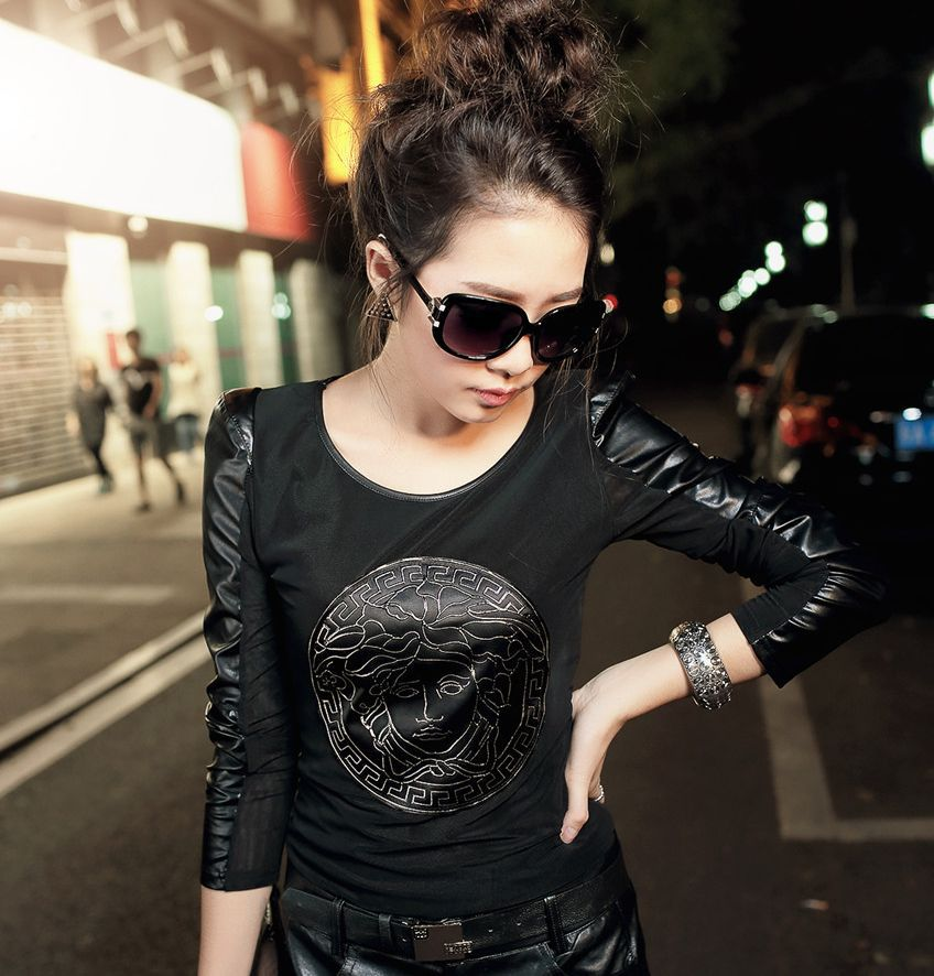 Fashion Personalized Leather Sleeve Patchwork Gauze Shirt Long Sleeve Black Color S XXL Size Free Shipping 01010-in T-Shirts from Apparel & Accessories on Aliexpress.com