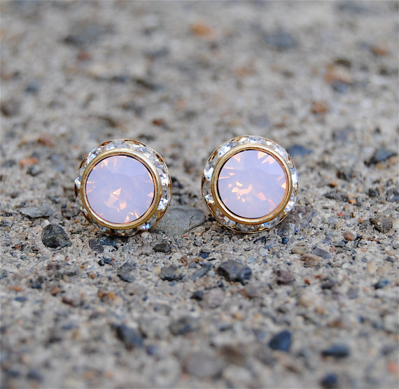 Pink Opal Earrings Small Gold Sugar Sparklers Vintage by MASHUGANA