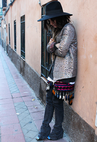 madame rosa blogger jacket hat silver folk sweater pants skirt shoes