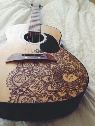 home accessory guitar brown drawings pretty music
