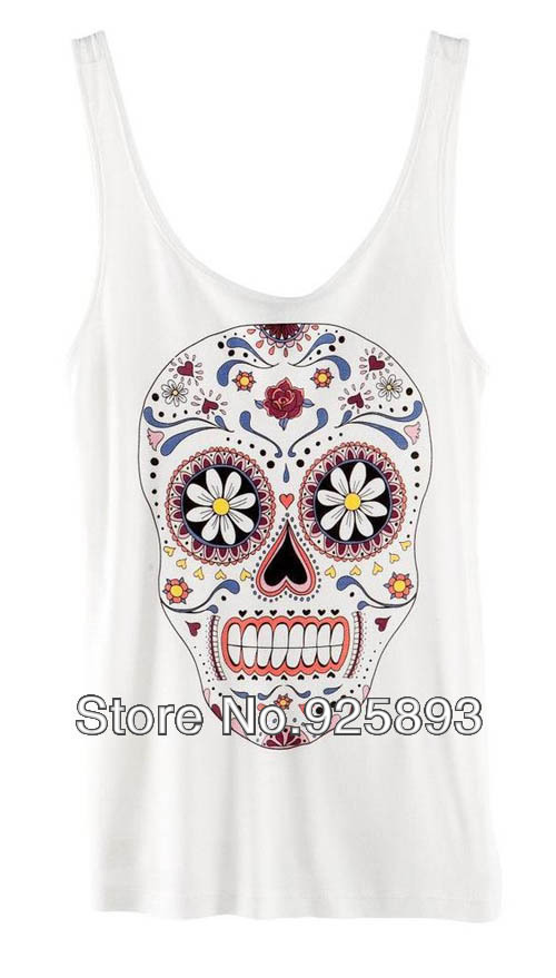 2 Colors Women European Fashion Flower Skull Head Sleeveless Shirt Vest YWF 0104-in Blouses & Shirts from Apparel & Accessories on Aliexpress.com