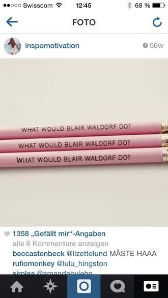 bag writing pencils pink blair blair waldorf gossip girl back to school university