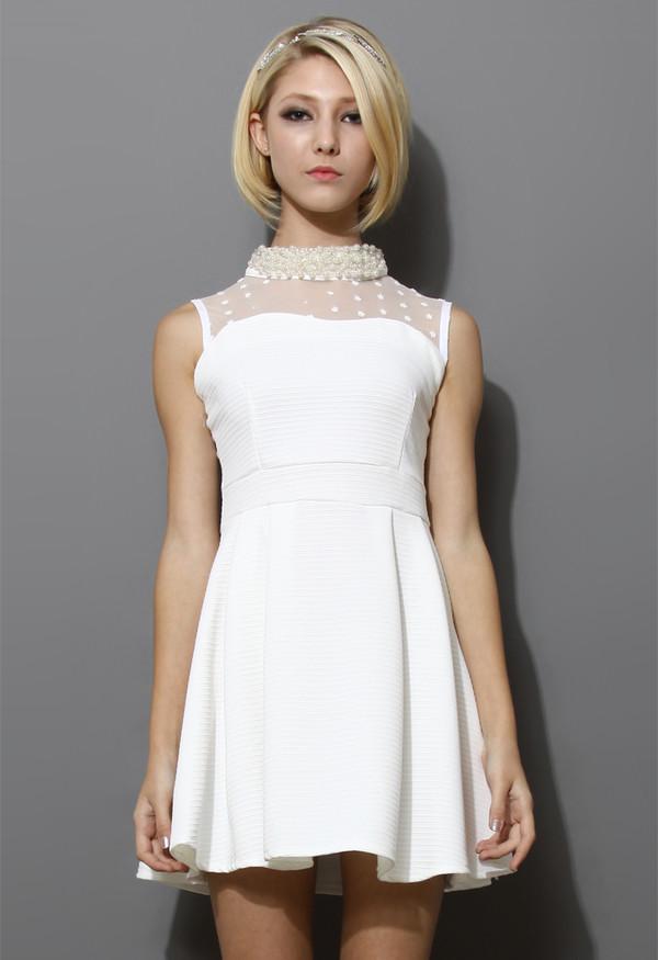 dress sleeveless pearl collar mesh twill