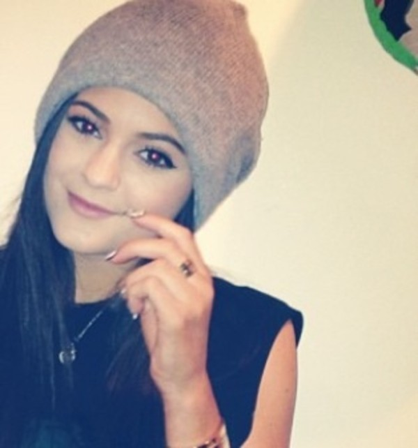 hat kylie jenner cute beanie winter outfits accessories grey grey jewels