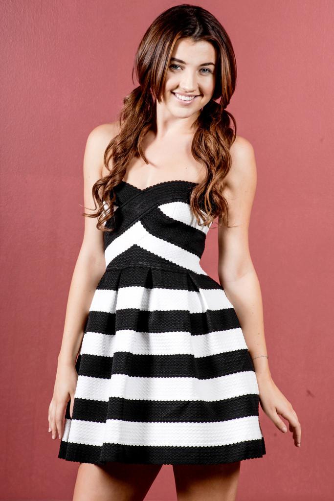 Special Occasion Stripe Mini Dress - Black | Obsezz