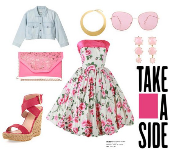 dress cute pink floral summer wedges earrings gold denim jacket necklace white floral dress denim jacket amazing glasses sunglasses clutch