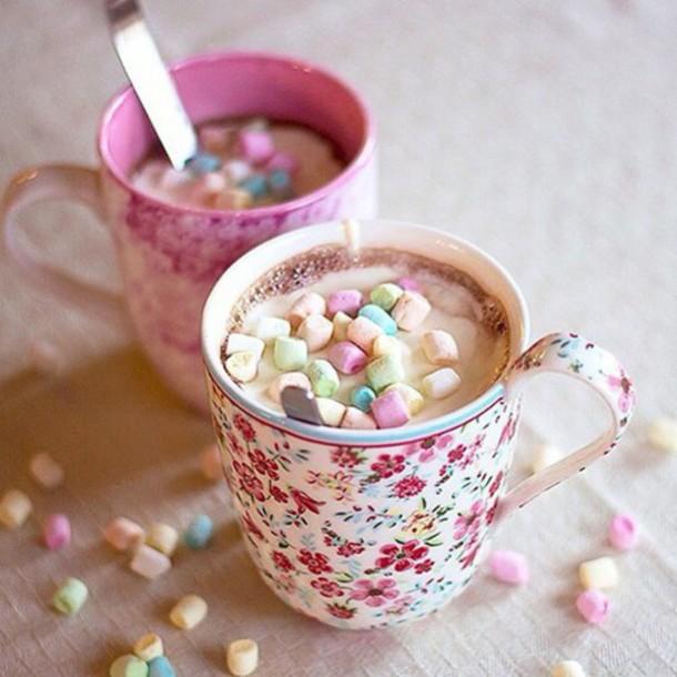 home accessory mug cup tea mashmallows floral flowers nice lovely tea time yummy hot chocolate marshmallows liberty