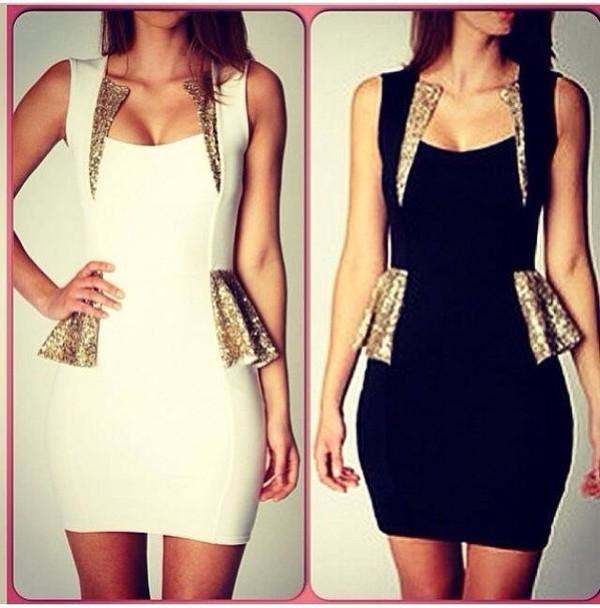 dress black white gold sexy