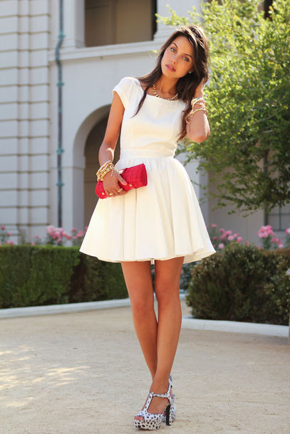 viva luxury holiday dress cute dress cute elegant elegant dress dress white ivory ivory dress ladylike white dress fit and flare cap sleeve shoes bag jewels plain white girly pink bag white short dress skater dress short dress graduation dress open back summer fashion style trendy spring dressofgirl prom prom dress