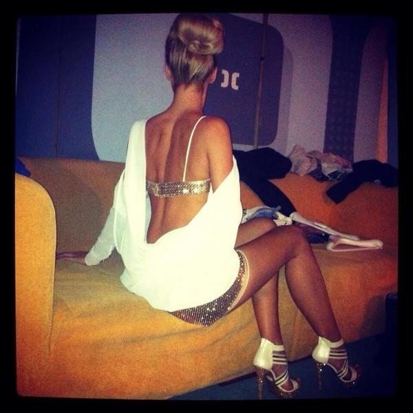 dress white and gold dress bra elegant shoes shirt