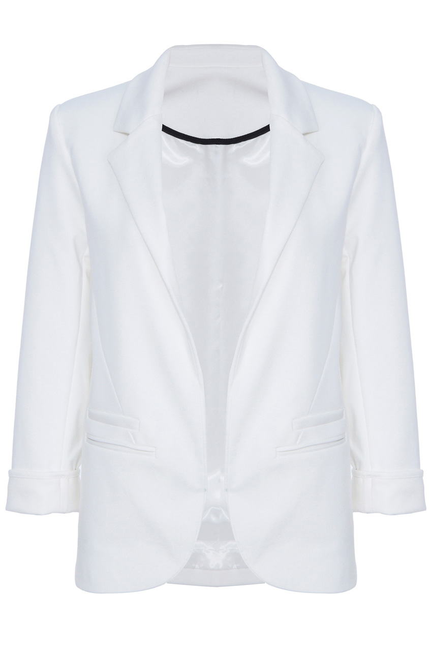 ROMWE | Rolled Cuffs White Blazer, The Latest Street Fashion