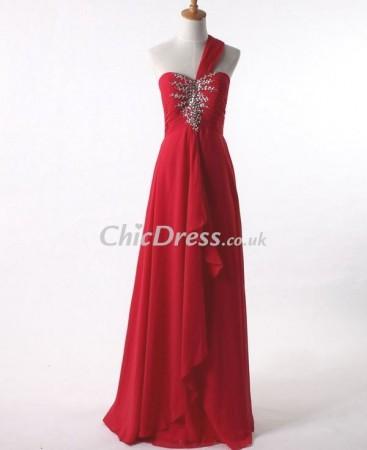 One-Shoulder Chiffon Long Prom Dress P-4844
