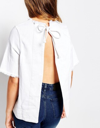 top denim top white top open back backless top bow top