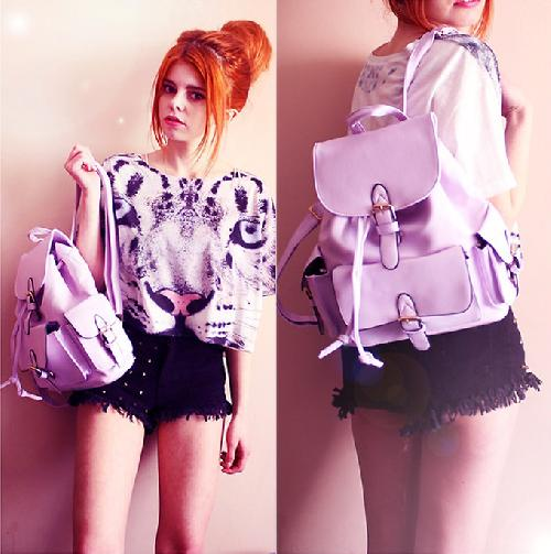 Preppy Drawstring Candy Color Backpack - Bags - Accessories