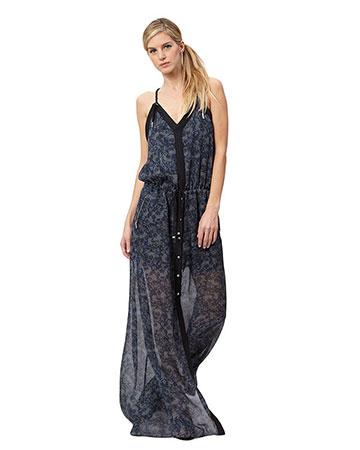L.A.M.B. Blue Floral Print Silk Dress
