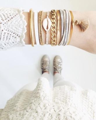 jewels bracelets gold chain charm bracelet zorabyl gold chain stacked bracelets shell college mothers day gift idea