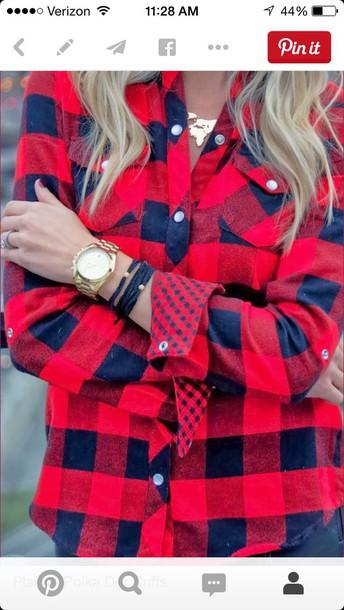 shirt plaid shirt with polka dot cuff