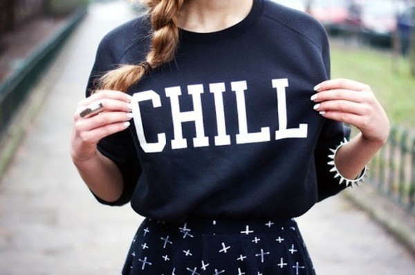 sweater hipster skirt chill chill sweater blue blue sweater blue chill sweater t-shirt black white