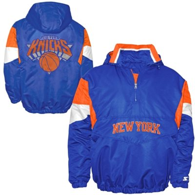 New York Knicks Starter Half-Zip Hooded Jacket - Royal Blue - FansEdge.com