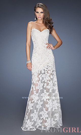 Prom Dresses, Celebrity Dresses, Sexy Evening Gowns - PromGirl: Floor Length Lace Strapless Dress