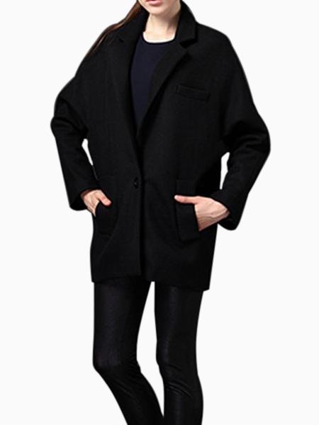 Oversize Blazer Coat in Black | Choies