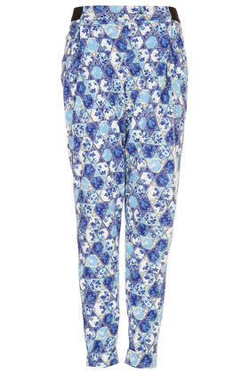 Tile Floral Tapered Trousers - Topshop USA