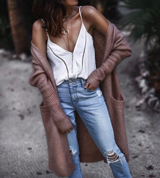 cardigan pink cardigan tumblr long cardigan top white top necklace silver necklace jewels jewelry denim jeans blue jeans ripped jeans