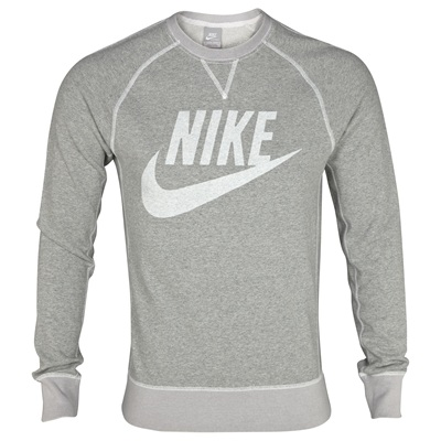 Nike Vintage Marl Logo Crew Sweater - Dark Grey Heather/Sail