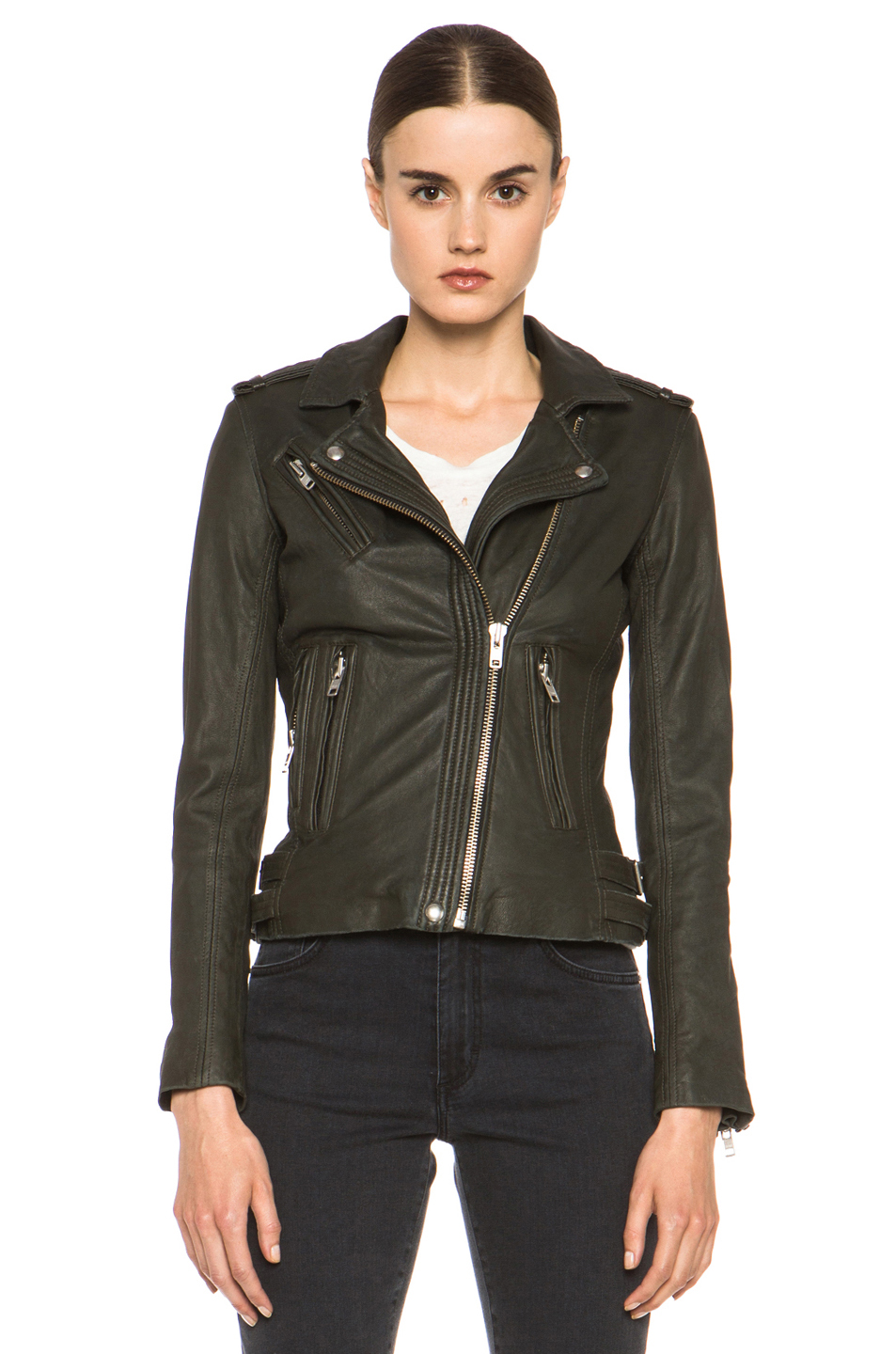 IRO|Han Leather Jacket in Gris Souris