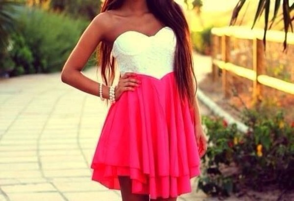 dress white pink dress pink lace shorts pretty wanted a simple v skirt prom dress strapless white dress summer glamour
