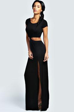 Ruby Knot Front Split Maxi Dress at boohoo.com