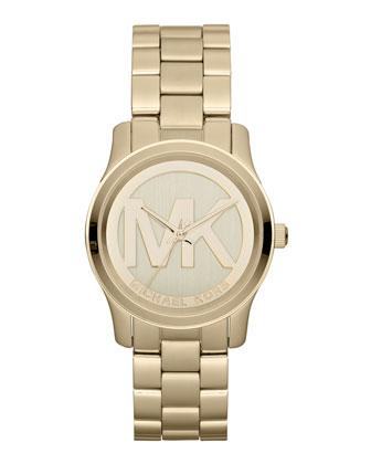 Michael Kors Mid-Size Golden Stainless Steel Logo Three-Hand Watch - Michael Kors