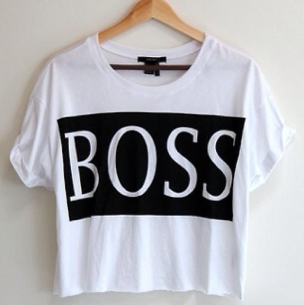 shirt crop tops printed t-shirt white shirt boss print t-shirt white printed tee clothes boss