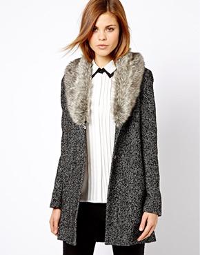 Warehouse | Warehouse Tweed Faux Fur Collar Coat at ASOS