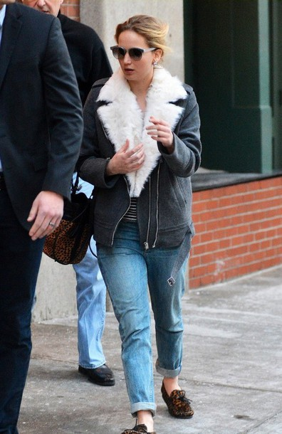 jennifer lawrence moccasins sunglasses shearling jacket
