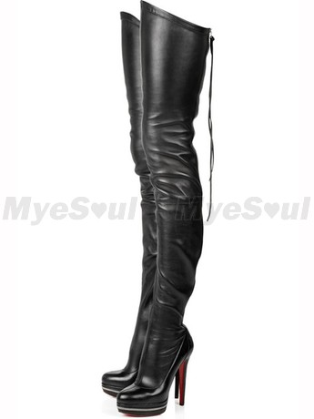 5 inch Heel Height 1 inch Platform Black PU Knee High Boots