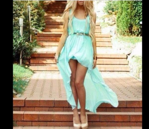 dress blue high low dress pretty blue flowy dress belt
