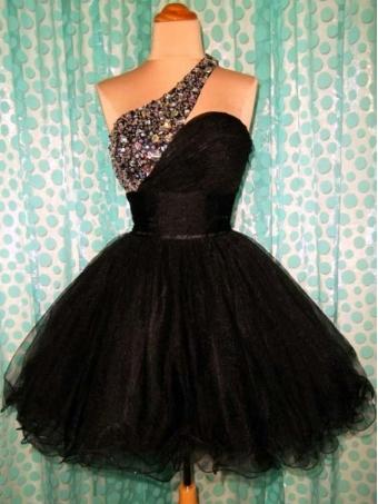 Black one shoulder Sweetheart Mini Prom Dress / Homecoming Dress [D0014] - $152.00 : 24inshop